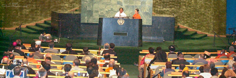 Amma addressing the United Nations