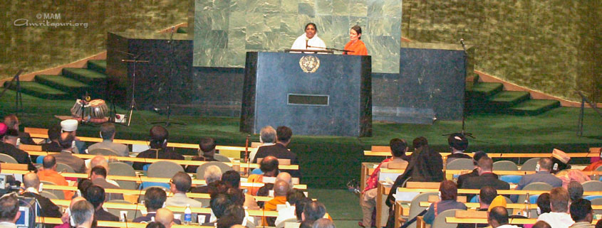 Amma speaking at the United Nations