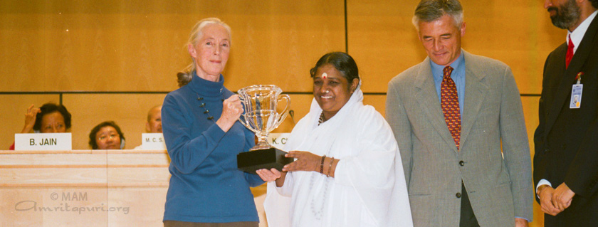 Amma with Jane Goodall at the United Nations