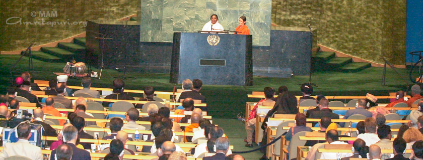 Amma delivering her message at the United Nations