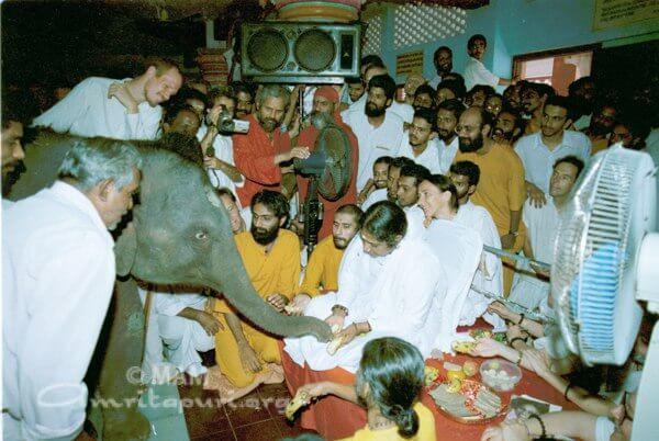 Amma giving Darshan to elephant Rama