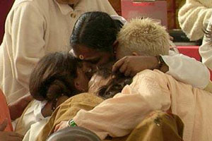 Amma hugging people in spain