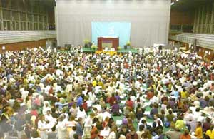 People in Barcelona coming to see Amma