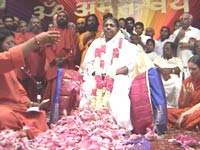 Amma's pada puja with lotus flwers