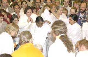 Amma gives darshan in Paris, France