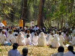 Amma with tour group in Muthanga forest