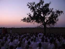 Amma with tour group in the evening