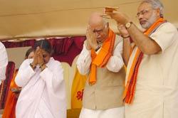 Amma with Advani and Modi