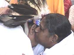 Amma gives darshan to a Native American Indian Chief
