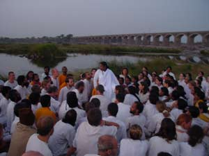 Amma with tour group by Godavari river