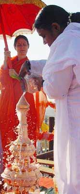 Amma performing Kalasha Sthapana for Brahmasthanam Temple in Bangalore