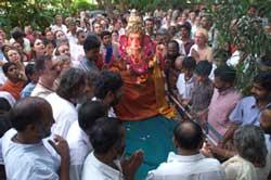 Ganesha procession in Amritapuri