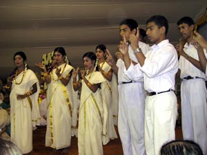 speech and hearing schools students performing for Amma