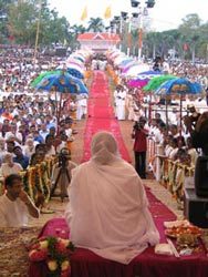 Amma on stage in Trissur, Kerala