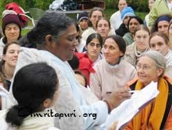 Amma with Swiss devotees