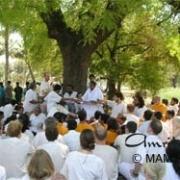 Amma with tour group near Pandarpur