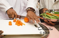Amma cutting vegetables