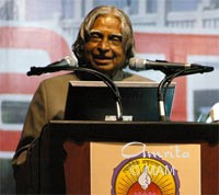 The President of India, Dr. A.P.J. Abdul Kalam, speaking to devotees in Amritapuri