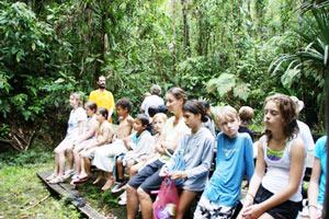 Br. Shantamrita with kids in Fiji