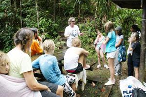 Br. Shantamrita with kids in nature