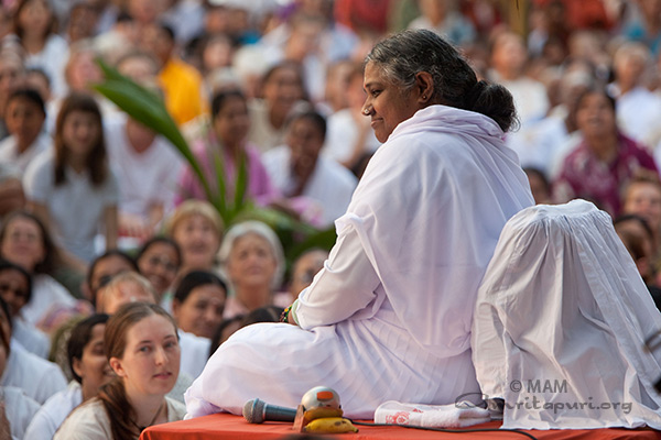 Amma at the beach during satsang